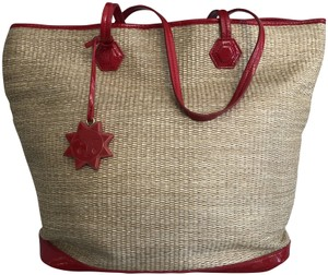 Jonathan Adler Leather Straw Faux Patent Tote in Natural/Red