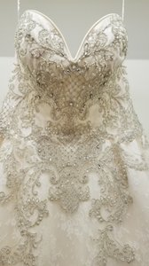 Sottero and Midgley Ivory Beaded Ball Gown Formal Wedding Dress Size 8 (M)