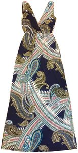 Navy Multi Maxi Dress by Renee C. Maxi Flow Paisley Long
