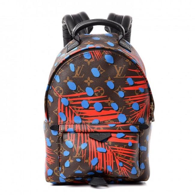 Item - Palm Springs Monogram Jungle Dots Pm Coquelicot Denim Brown Red Blue Canvas Backpack