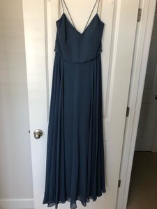 Jenny Yoo Evening Blue Luxe Chiffon Inesse Formal Bridesmaid/Mob Dress Size 6 (S)