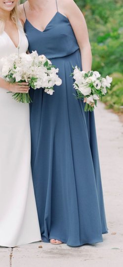 Jenny Yoo Evening Blue Luxe Chiffon Inesse Formal Bridesmaid/Mob Dress Size 6 (S) Image 4