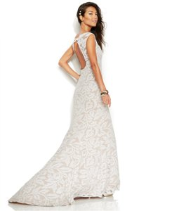 Adrianna Papell White Nude Sleeveless Embroidered Lace Mermaid Gown Feminine Wedding Dress Size 8 (M)