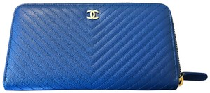 Chanel Large Zip Wallet Silver Hardware