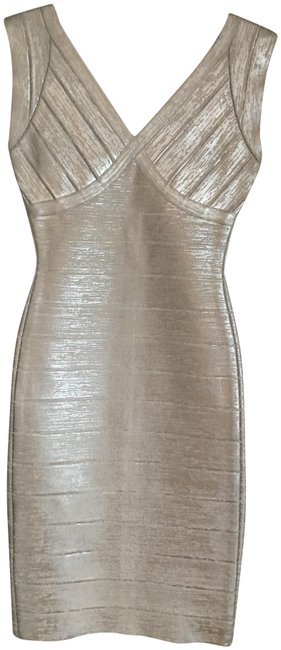 Item - Silver Metallic Bandage Cocktail Short Night Out Dress Size 2 (XS)