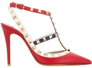 Valentino Rockstud Studded Beaded Stiletto Rubin red Pumps