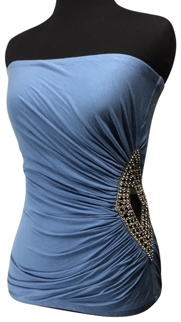 Item - Strapless Ruched Crystal Cut-out Light Blue Top