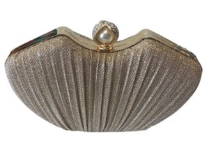 Gold and Rhinestone and Pearl Evening Clutch Bridal Handbag
