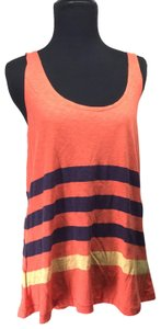 Sundry Pima Cotton Striped Top Orange/Blue/Yellow