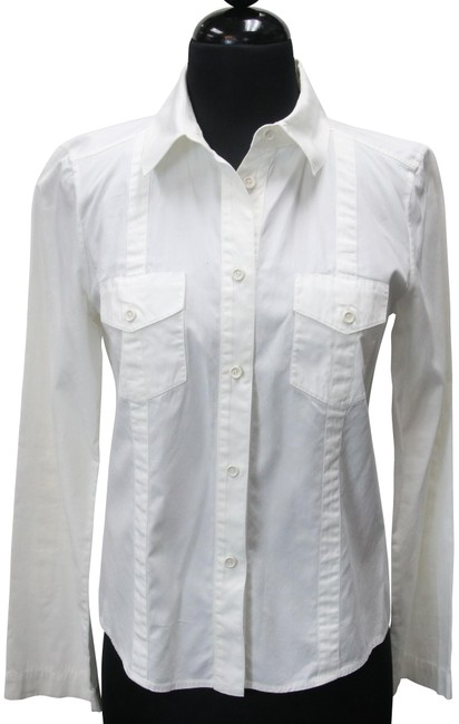 Item - White Cotton Collared Shirt Button-down Top Size 4 (S)