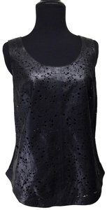 Anthropologie Leather Eyelet Cut-out Modal Top Black