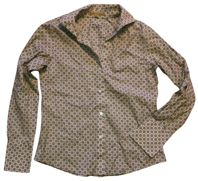 Item - Tan and White Wrinkle Free Button-down Top Size 4 (S)