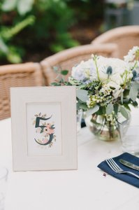 BHLDN White / Floral Table Numbers 1-20 Tableware