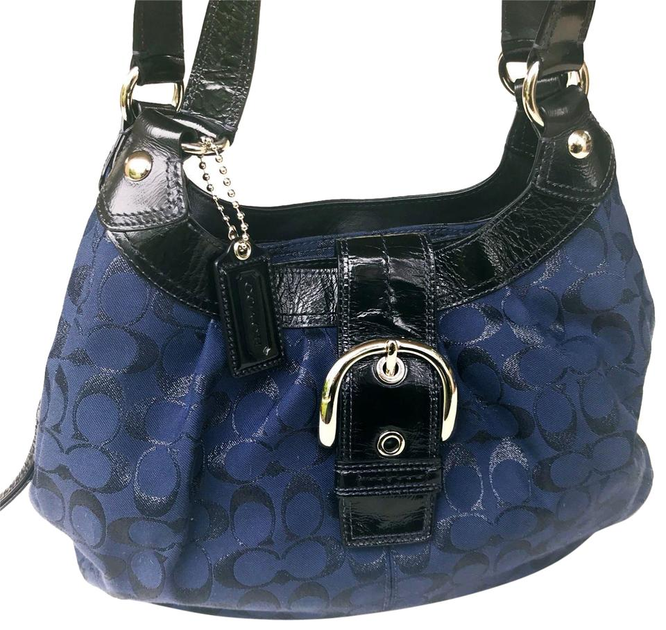 3b69888c80 Coach Signature Handbag Buckle Black Leather Large Blue Fabric Shoulder Bag