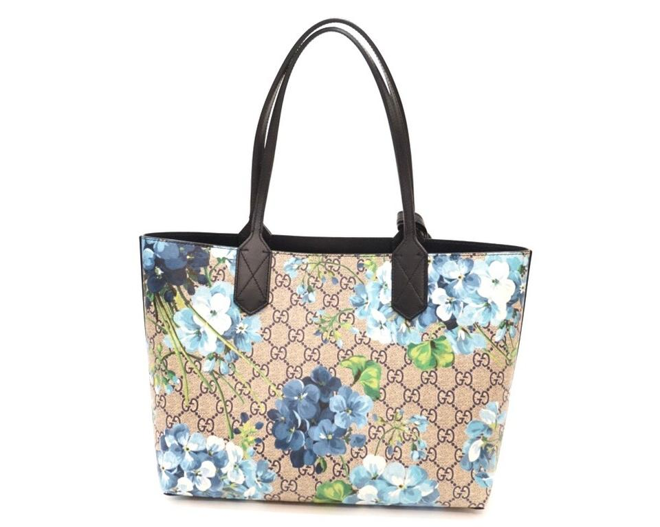 41f559dd31d4 Gucci Small Gg Supreme Blooms Monogram Reversible Floral Blue Tote ...
