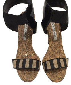 Manolo Blahnik Black and Taupe Wedges