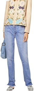 Tory Burch Shank Closure Frayed Hi-lo Hem Relaxed Fit Gold Hardware 5-pockets Straight Leg Jeans