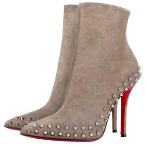 Christian Louboutin Silver Hardware Spike Studded So Kate Willetta Grey Boots