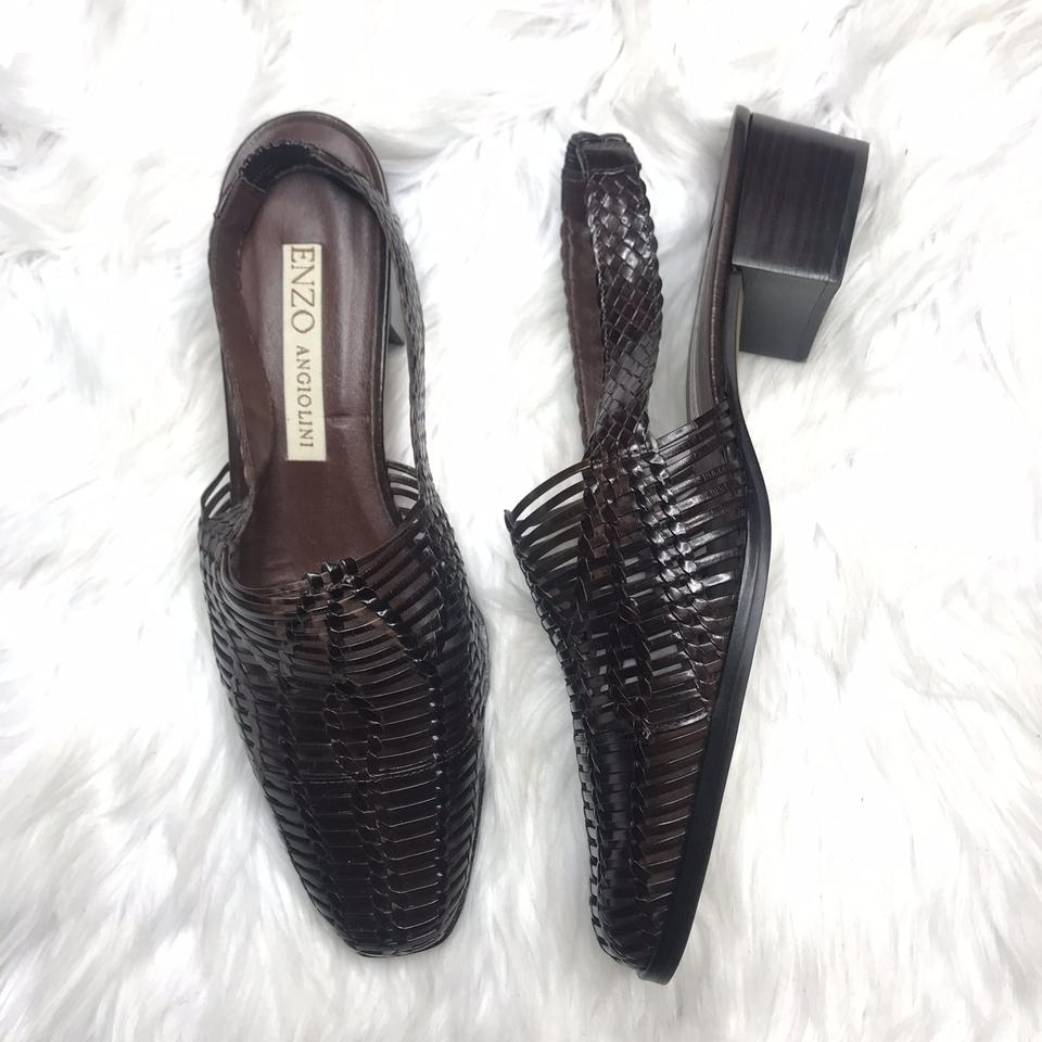 f60f196423 Enzo Angiolini Brown Vtg Womens Woven Slingback Leather Loafer Sandals