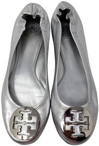 Tory Burch Reva Ballerina Patent Leather Hardware Metallic Silver Flats