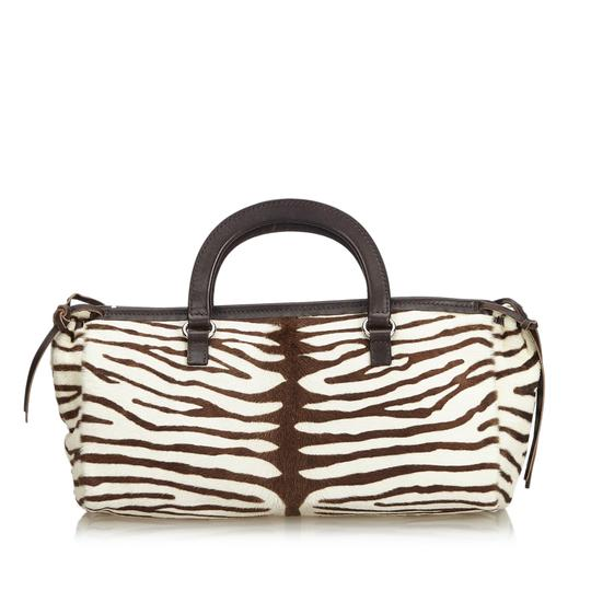 Zebra Print Handbag Italy Medium White Pony Fur Leather Shoulder Bag by Prada
