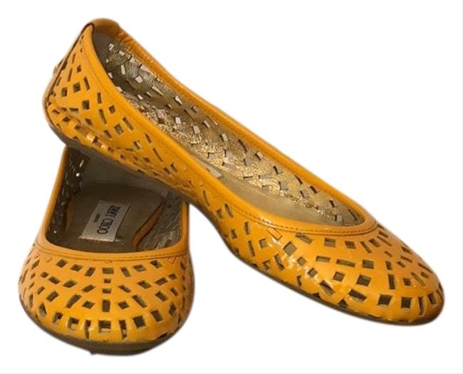 Item - Yellow Perforated Patent Flats Size EU 36.5 (Approx. US 6.5) Regular (M, B)