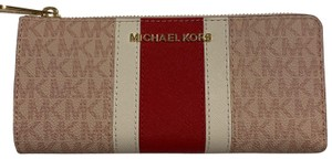 846dc1e459d4 Michael Kors Jet Set Travel Large Three Quarter Zip Leather Wallet Clutch