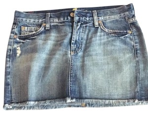 7 For All Mankind Mini Skirt jeans blue stones on back pockets