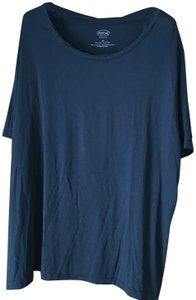 Talbots Pullover Rounded Neckline Sleeves Accented Neckline Rayon/Spandex T Shirt Navy Blue