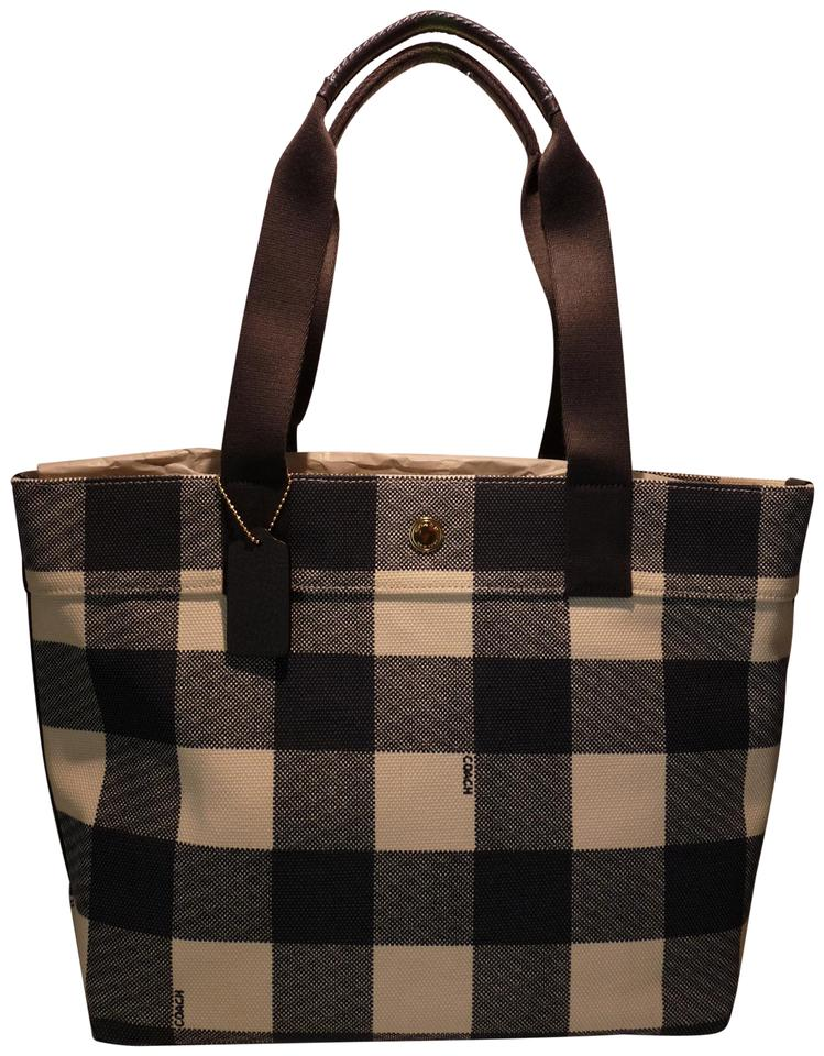 05c8833f46 Coach Shoulder Bag Tote/ Buffalo Plaid Print Trim Navy Blue/White  Canvas/Leather Tote 42% off retail