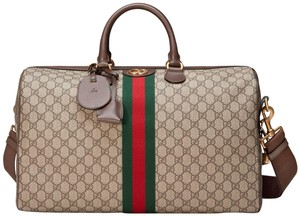 Gucci Gg Supreme Gg Ophidia Ophidia Gg Medium Gg Duffle Beige Travel Bag