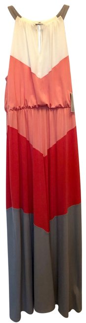 Item - White Peach Coral Gray Long Casual Maxi Dress Size 14 (L)