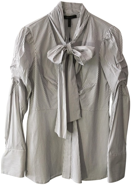 Item - Gray White Stripe Long Sleeve Button-down Top Size 10 (M)