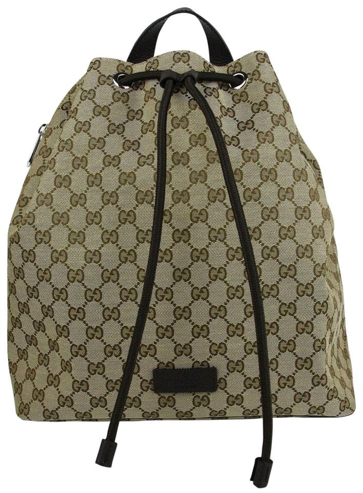3a7b1eceaae3 Gucci Beige/Brown Gg Pull String Draw-string 449175 9790 Beige/Brown Canvas  Leather Backpack 32% off retail