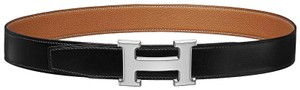 Hermès Black and Gold Constance 32mm Reversible H Buckle Belt