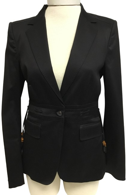 Item - Black With Bamboo Detail Jacket Size 6 (S)