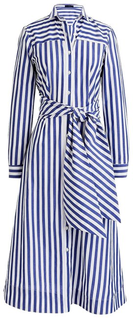 Item - Navy-white (Nwt) Stripe Tie-waist Shirtdress Mid-length Work/Office Dress Size 00 (XXS)