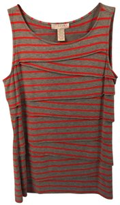 Kenar Stripe Sleeveless Top Red and Gray