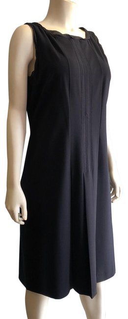 Item - Black Pleated Sleeveless Mid-length Work/Office Dress Size 8 (M)