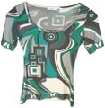 Emilio Pucci Stretchy T Shirt Green, gray, white
