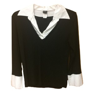 Comfy Stretchy Modal Longsleeve Collar Spandex Top Black and White