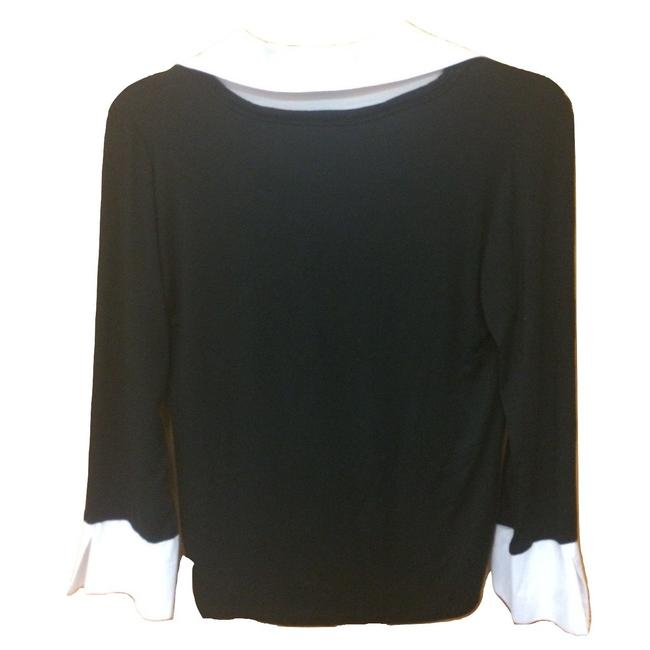 Comfy Stretchy Modal Longsleeve Collar Spandex Top Black and White Image 1