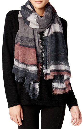 Steve Madden Steve Madden Women's Gray Brushstroke Striped Fringed Wrap Scarf Image 1