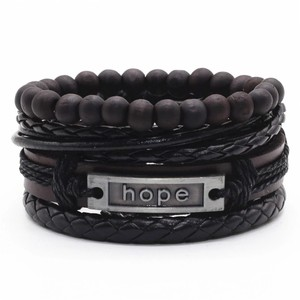 Other Hope Black Beaded Believe Wrap Handmade Woven Men Leather Bracelets Women Vintage Bangle Male Homme Jewelry Accessories