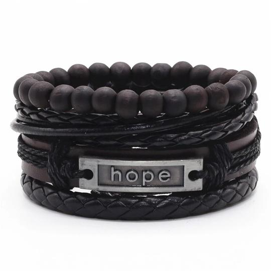 Other Hope Black Beaded Believe Wrap Handmade Woven Men Leather Bracelets Women Vintage Bangle Male Homme Jewelry Accessories Image 0