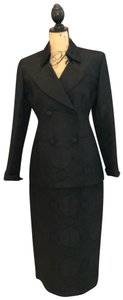 Ava Polini Eva Polini Couture Black Brocade Suit with Long Skirt Size 8 made in USA