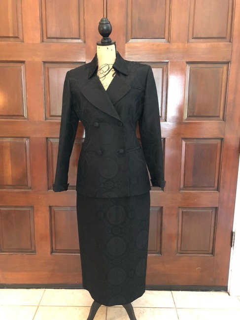 Ava Polini Eva Polini Couture Black Brocade Suit with Long Skirt Size 8 made in USA Image 1