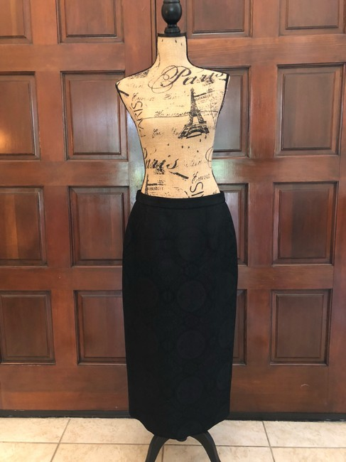 Ava Polini Eva Polini Couture Black Brocade Suit with Long Skirt Size 8 made in USA Image 2