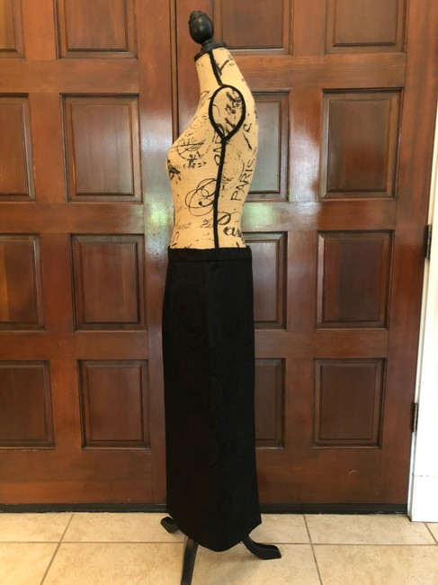 Ava Polini Eva Polini Couture Black Brocade Suit with Long Skirt Size 8 made in USA Image 3