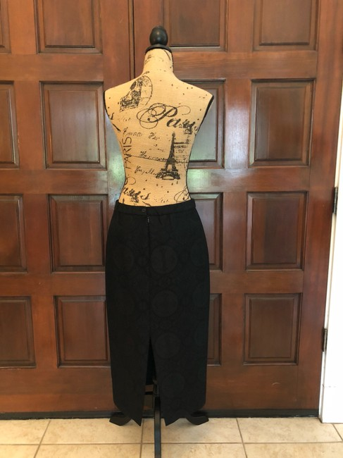 Ava Polini Eva Polini Couture Black Brocade Suit with Long Skirt Size 8 made in USA Image 4